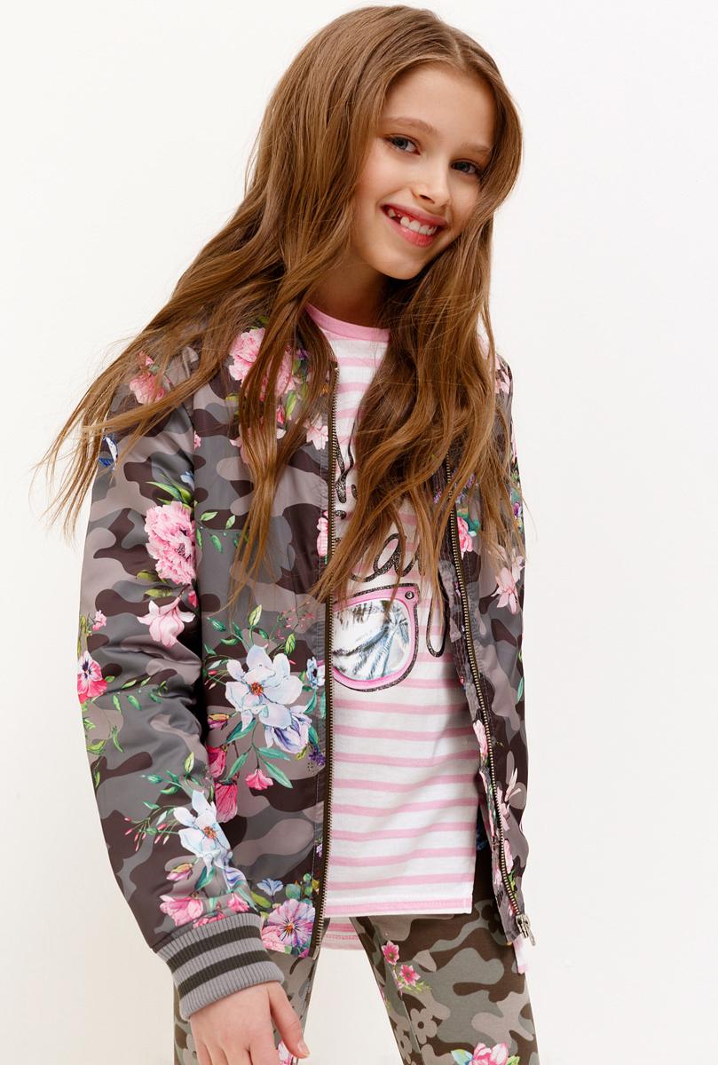 Куртка для девочки Acoola, цвет: хаки. 20210130135_2100. Размер 16420210130135_2100