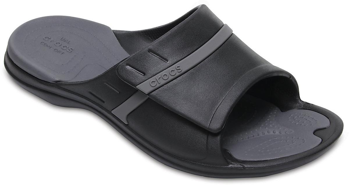Шлепанцы Crocs Modi Sport Slide, цвет: черный. 204144-02S. Размер 9/11 (41/42)204144-02SЛетние шлепанцы от Crocs придутся вам по душе. Модель полностью выполнена из полимера Croslite. Благодаря материалу Croslite обувь невероятно легкая, мягкая и удобная. Материал Croslite - бактериостатичен, препятствует появлению неприятных запахов и легок в уходе: быстро сохнет и не оставляет следов на любых поверхностях. Под воздействием температуры тела обувь принимает форму стопы.