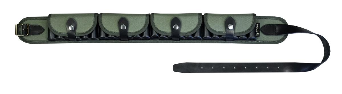 """Закрытый патронташ для ношения на поясе на 24 патрона к гладкоствольному оружию 12, 16 или 20 калибра. Защита патронов от механических повреждений и атмосферных осадков осуществляется четырьмя клапанами (один на шесть патронов). Быстрый доступ к патроном в патронташе обеспечивает """"кобурная кнопка"""".     Основание и закрывающие клапаны патронташа П-47 изготовлены из прочной синтетической ткани зелёного цвета. Газыри, ремешки и язычки кнопок выполнены из натуральной кожи черного цвета. Ширина ремешков — 30 мм.     Общую длину патронташа можно регулировать в диапазоне от 103 до 124 см (обхват талии). Имеется место для дополнительных отверстий, что позволит расширить диапазон регулировки от 78 до 127 см.  Компания ВЕКТОР уже много лет занимается разработкой и производством самого разного снаряжения для охотников, военных и сотрудников силовых структур. При этом используется самое современное оборудование и материалы, в цехах работают увлечённые и квалифицированные специалисты. Компания постоянно развивается и растет."""