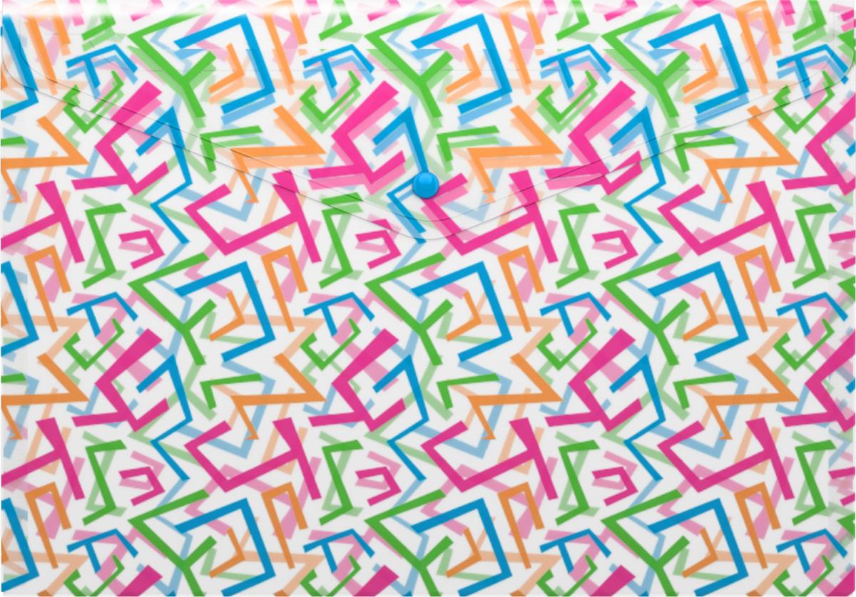 Erich Krause Папка-конверт на кнопке Lines формат А445330Формат А4; Дизайн - Lines; толщина - 0,18 мм;материал - полипропилен; тиснение - песок; вместимость листов -100; тип замка - кнопка