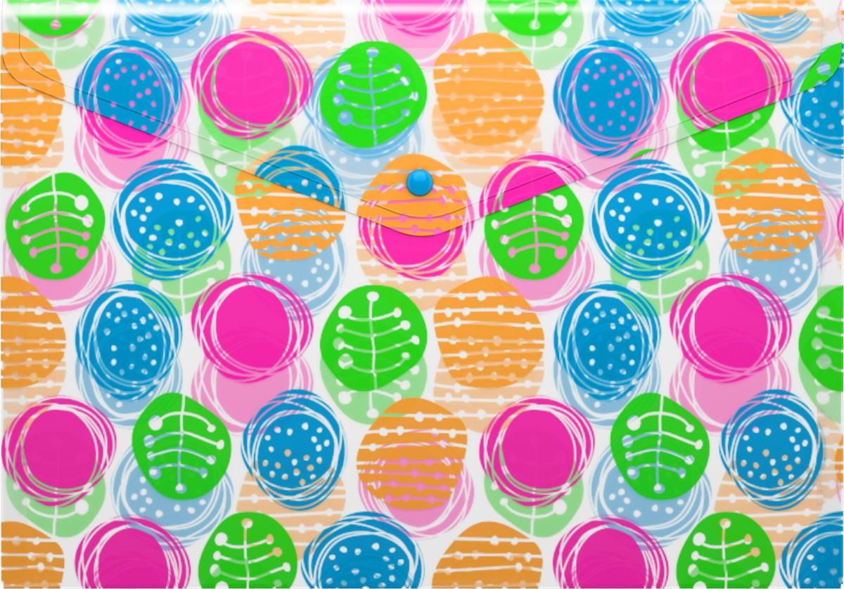 Erich Krause Папка-конверт на кнопке Buttons формат А445331Формат А4; Дизайн - Buttons толщина - 0,18 мм;материал - полипропилен; тиснение - песок; вместимость листов -100; тип замка - кнопка