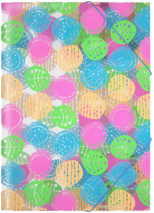 Erich Krause Папка на резинках Buttons формат A445346Формат А4; Дизайн Buttons; Толщина - 0,55мм; материал - полипропилен; тиснение - песок; вместимость листов -120; тип фиксации - резинка