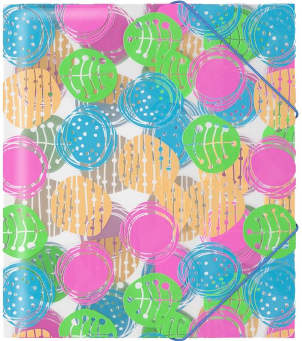 Erich Krause Папка на резинках Buttons формат A5+45347Формат А5+; Дизайн Buttons; Толщина - 0,55мм; материал - полипропилен; тиснение - песок; тип фиксации - резинка