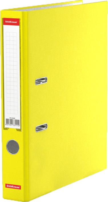 Erich Krause Папка-регистратор с арочным механизмом Neon разборная 50 мм формат А4 цвет желтый45402Папка - регистратор формата А4 снабжена стальным арочным механизмом с никелевым покрытием. Изготовлена из плотного картона толщиной 2 мм, покрытого бумагой со структурным тиснением и водоотталкивающей поверхностью. Корешок папки шириной 50 мм оснащен прозрачным пластиковым карманом со сменной этикеткой для маркировки. Для удобства использования на корешке имеется металлическое кольцо для захвата. Металлические фиксаторы удерживают папку в закрытом виде даже при максимальном наполнении. Вместительность до 350 листов бумаги плотности 80 г/м2. На форзаце есть шаблон для оглавления. Коллекция представлена в ярких неоновых цветах.