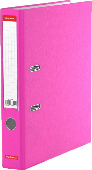 Erich Krause Папка-регистратор с арочным механизмом Neon разборная 50 мм формат А4 цвет розовый45403Папка - регистратор формата А4 снабжена стальным арочным механизмом с никелевым покрытием. Изготовлена из плотного картона толщиной 2 мм, покрытого бумагой со структурным тиснением и водоотталкивающей поверхностью. Корешок папки шириной 50 мм оснащен прозрачным пластиковым карманом со сменной этикеткой для маркировки. Для удобства использования на корешке имеется металлическое кольцо для захвата. Металлические фиксаторы удерживают папку в закрытом виде даже при максимальном наполнении. Вместительность до 350 листов бумаги плотности 80 г/м2. На форзаце есть шаблон для оглавления. Коллекция представлена в ярких неоновых цветах.