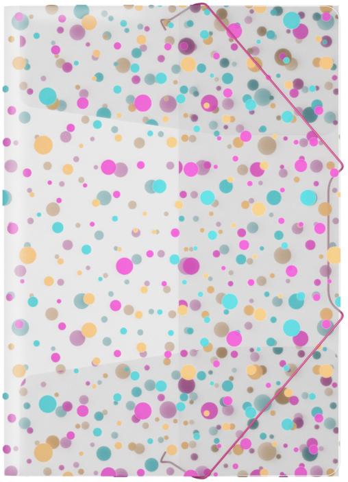 Erich Krause Папка на резинках Dots формат A445459Формат А4; Дизайн Dots; Толщина - 0,55мм; материал - полипропилен; тиснение - песок; вместимость листов -120; тип фиксации - резинка