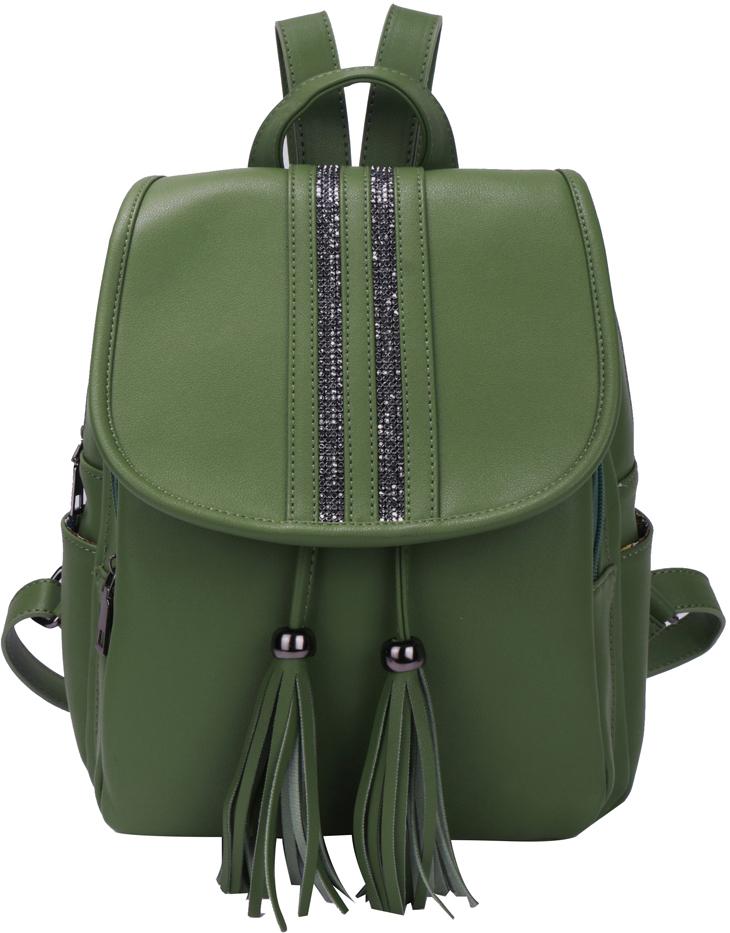 Рюкзак женский OrsOro, цвет: оливковый, 26 x 33 x 14 см. DS-875/3
