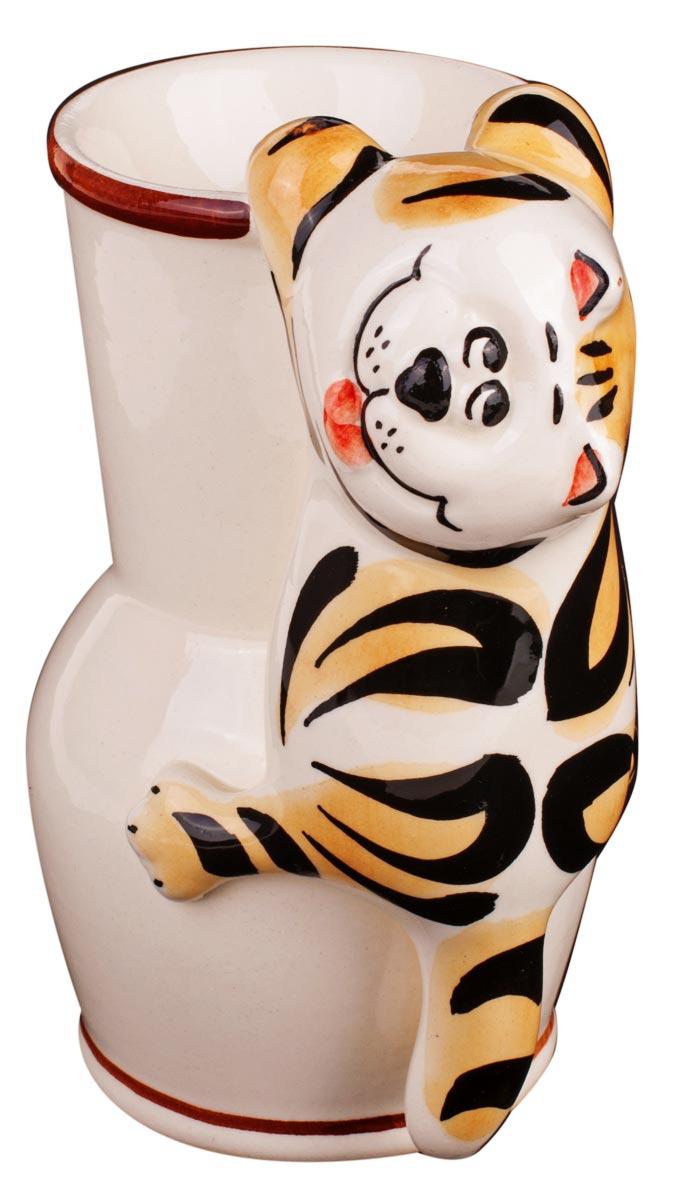 Аромалампа Кот с крынкой, цвет: белый, 14 см кувшинчик с сердечком аромалампа керамика 8х10 см без упаковки