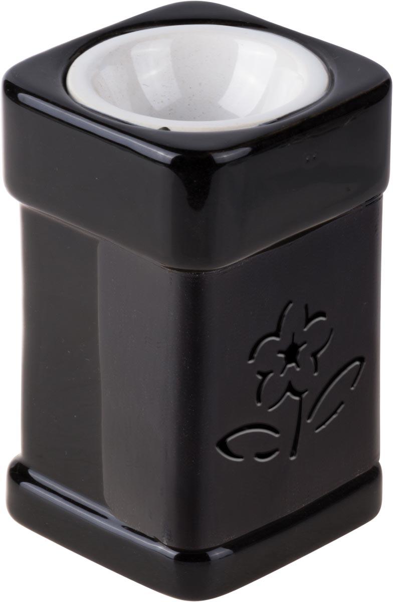 Аромалампа Цветок, цвет: черный, белый, 12 см аромалампа шар