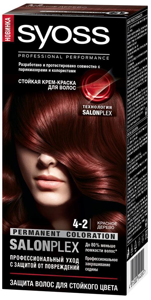 Syoss Color Краска для волос оттенок 4-2 Красное дерево, 115 мл93931171Профессиональная формула Syoss с защитой от повреждений SalonPlex обеспечивает: • МАКСИМАЛЬНУЮ СТОЙКОСТЬ И ИНТЕНСИВНОСТЬ ЦВЕТА** • УХОД ПРОТИВ ПОВРЕЖДЕНИЙ • ДО 80 % МЕНЬШЕ ЛОМКОСТИ ВОЛОС* • ПРОФЕССИОНАЛЬНОЕ ЗАКРАШИВАНИЕ СЕДИНЫ* по сравнению с волосами, окрашенными без применения технологии SALONPLEX ** в ассортименте SYOSS