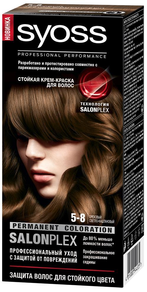 Syoss Color Краска для волос оттенок 5-8 Ореховый светло-каштановый, 115 мл9393110Профессиональная формула Syoss с защитой от повреждений SalonPlex обеспечивает: • МАКСИМАЛЬНУЮ СТОЙКОСТЬ И ИНТЕНСИВНОСТЬ ЦВЕТА** • УХОД ПРОТИВ ПОВРЕЖДЕНИЙ • ДО 80 % МЕНЬШЕ ЛОМКОСТИ ВОЛОС* • ПРОФЕССИОНАЛЬНОЕ ЗАКРАШИВАНИЕ СЕДИНЫ* по сравнению с волосами, окрашенными без применения технологии SALONPLEX ** в ассортименте SYOSS