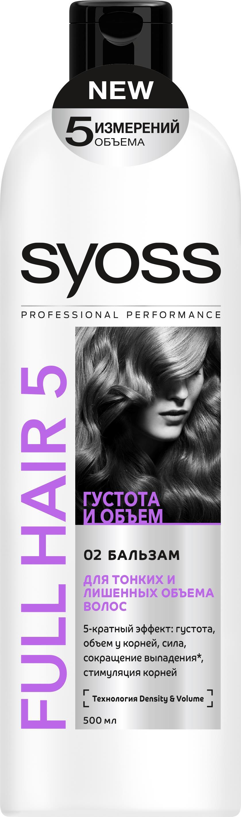 SYOSS Бальзам Full Hair 5 , 500мл9034240Первый профессиональный уход за волосами, направленный на улучшение пяти показателей здоровья волос: густоту,объем, силу, сокращение выпадения волос, вызванного их ломкостью, а также стимуляцию работы волосяных луковиц.Бережно ухаживает, придавая силу и густоту волосамДелает поверхность волоса гладкой, облегчая расчесываниеСокращает выпадение волос* и активно стимулирует корни * вызванное ломкостью