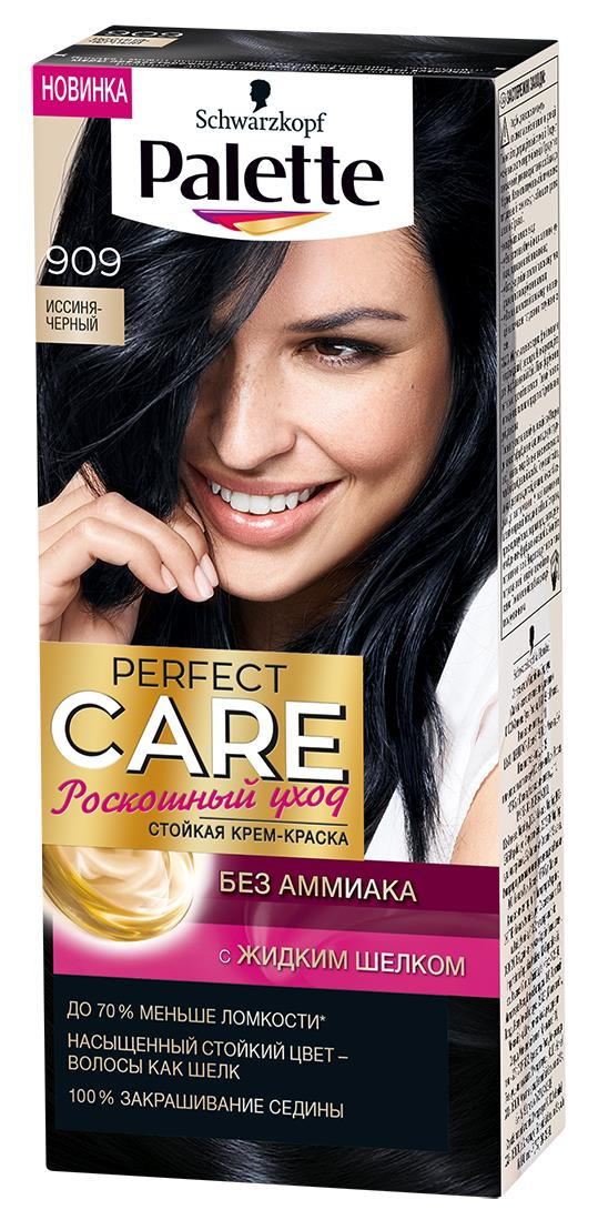Palette Perfect Care Крем-краска оттенок 909 Иссиня-черный, 110 мл09344000909Ухаживющая формула без Амииака вмсете с ухаживащим кондиционером сделают Ваши волосы мягкими и шелковистыми.