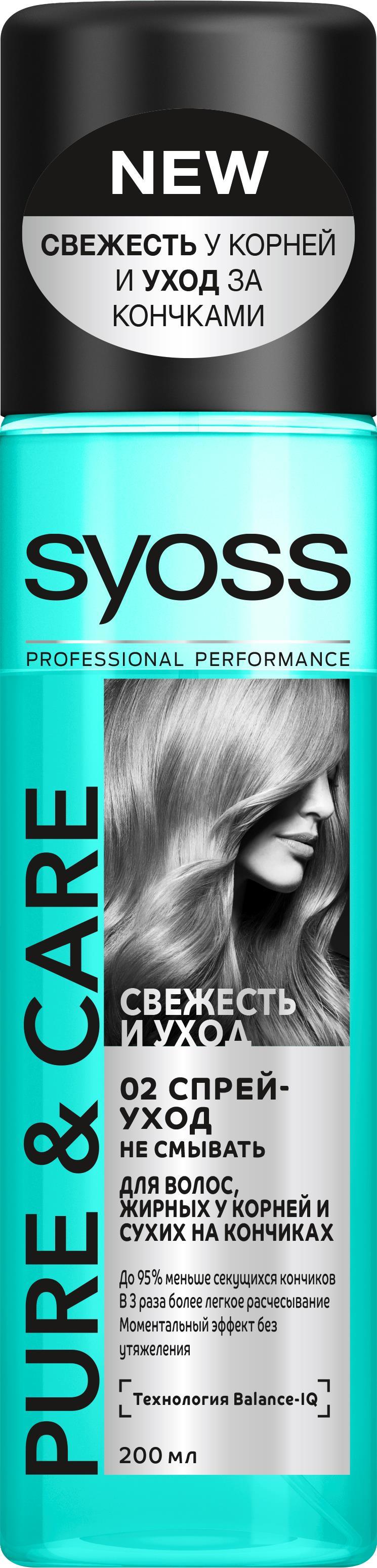 Syoss Pure&Care Спрей-уход для волос жирных у корней и сухих на кончиках, 200 мл спрей тонирующий syoss root retoucher черный 120мл активатор цвета