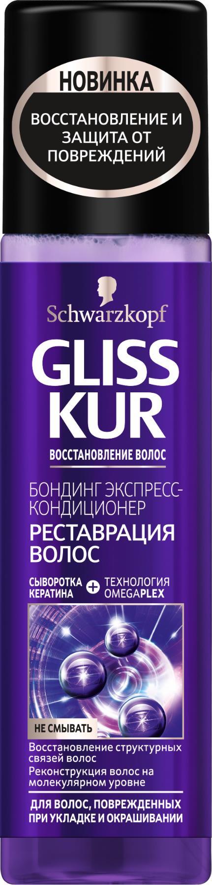 Gliss Kur Экспресс-кондиционер Реновация волос 200 мл09261968Из-за частого окрашивания и укладки волос феном и щипцами для завивки или выпрямления структурные связи между волокнами волоса разрушаются, и волосы теряют здоровый вид. Революционная формула* Gliss Kur с технологией OMEGAPLEX проникает внутрь волоса и