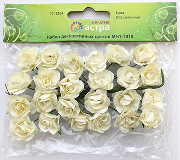 Небольшие букетики на проволочном стебельке. Назначение: скрапбукинг, декорирование открыток, рамок для фотографий, другие виды творчества.Размер цветков: 2 х 2 см.В упаковке 24 цветка.