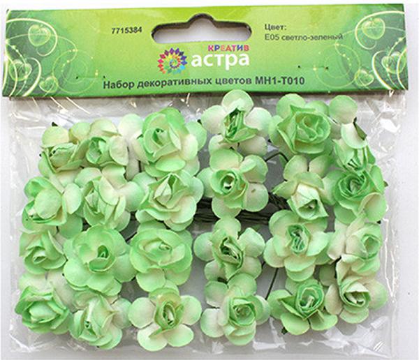 Небольшие букетики на проволочном стебельке. Назначение: скрапбукинг, декорирование открыток, рамок для фотографий, другие виды творчества.Размер цветка: 2 х 2 см.В упаковке 24 цветка.