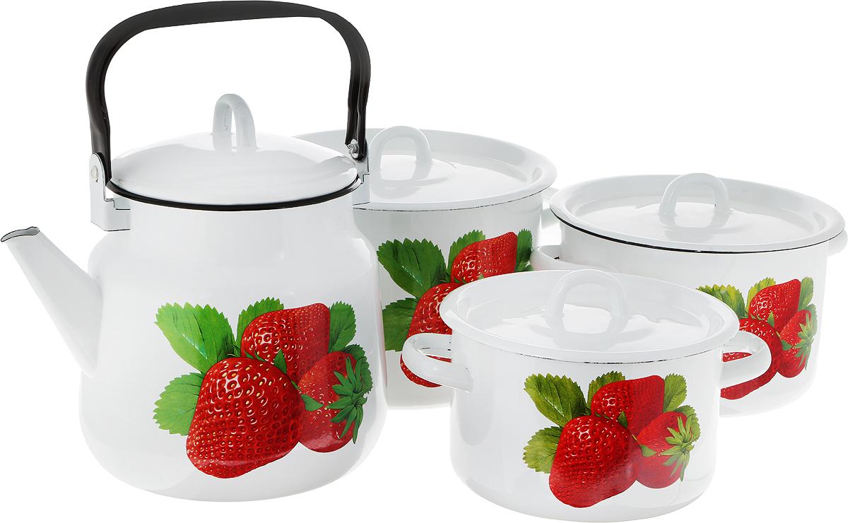 """Набор посуды Эмаль """"Кухонный"""", состоящий из трех кастрюль и чайника с крышками, изготовлен из высококачественной стали с эмалированным покрытием и оформлен изображением ягод. Эмалевое покрытие, являясь стекольной массой, не вызывает аллергии и надежно защищает пищу от контакта с металлом. Внутренняя поверхность идеально ровная, что значительно облегчает мытье. Покрытие устойчиво к механическому воздействию, не царапается и """"не сходит"""", а стальная основа практически не подвержена механической деформации, благодаря чему срок эксплуатации увеличивается. Кастрюли и чайник оснащены крышками, выполненными из стали с эмалированным покрытием, которые имеют удобные пластиковые ручки. Подходят для всех типов плит, включая индукционные. Можно мыть в посудомоечной машине. Высота стенок кастрюль: 10,5, 12, 13 см. Диаметр кастрюль (по верхнему краю): 16, 18, 20 см. Ширина кастрюль (с учетом ручек): 22,5, 24,5, 26,5 см.Объем кастрюль: 2, 3, 4,5 л. Диаметр чайника (по верхнему краю): 14 см. Высота чайника (без учета крышки и ручки): 18 см. Объем чайника: 3,5 л."""