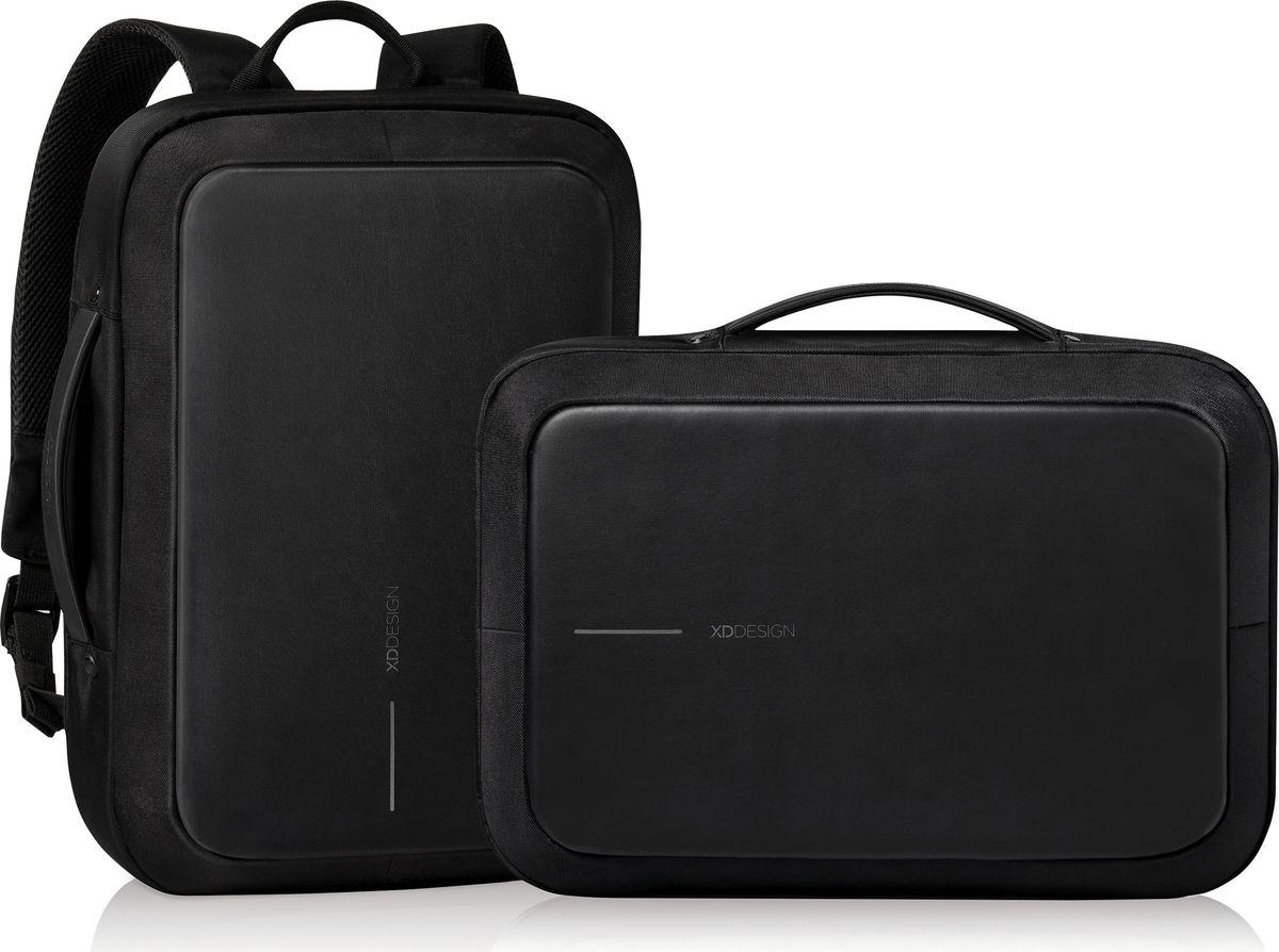 Рюкзак для ноутбука XD Design Bobby Bizz, до 15,6, цвет: черныйP705.571Рюкзак для ноутбука до 15,6 XD Design Bobby Bizz выполнен из полиэстера и пропилена. Быстрая трансформация из делового рюкзака ипортфель, при этом лямки прячутся в специальные кармашки. Система защиты от краждополнена тросом, встроенным в правую лямку, и кодовым замком, благодаря чему рюкзак можно пристегнуть почти к любому объекту, а замкомможно так же блокировать молнию. Уникальная концепция позволяет открывать рюкзак под тремя разными углами: 30°, 90°, 180°.Металлический каркас по периметру сохранит форму рюкзака и защитит его содержимое. Особенности:BR>Полная защита от карманников: не открыть, не порезать; USB-порт для зарядки гаджетов; Легкая трансформация из рюкзака в портфель; Светоотражающие полосы; Отделение для ноутбука до 15.6; Отделение для планшета до 10; Прочный но легкий металлический каркас;Встроенный в лямку стальной трос и кодовый замок. Размеры: 44,5 х 31 х 10 см. Вес: 1300 г.