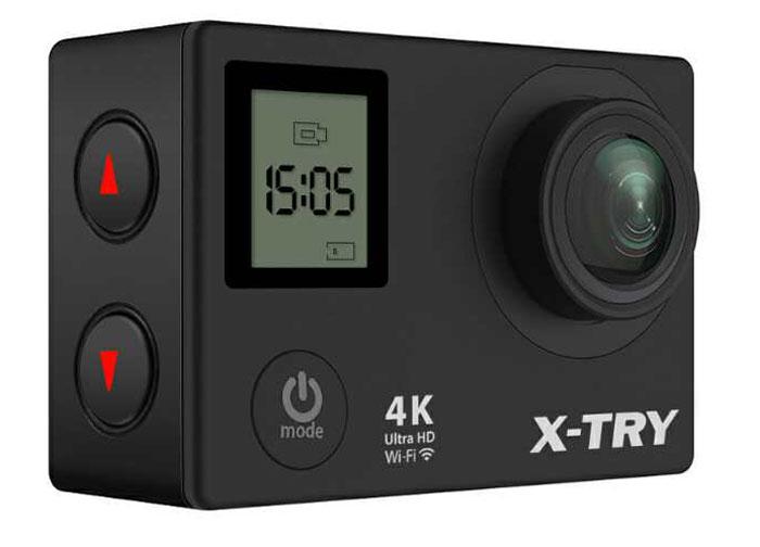 X-Try XTC210 UltraHD 4K WiFi + Remote цифровая экшн-камераXTC210Экшн-камера X-Try XTC210 оснащена современным процессором и матрицей высокого разрешения, что обеспечивает высочайшее качество фото и видео съемки в разрешении UltraHD 4K на частоте 30 кадров/сек. Модель имеет широкоугольный объектив и 2 ЖК-экран, а так же беспроводной модуль Wi-FI, c повышенным до 20 м радиусом действия. Множество видеорежимов (в том числе и SLOWMO) позволят пользователю делать насыщенные и интересные фото и видео. Камеру можно использовать в режиме видеорегистратора. Не лишним оказался и фронтальный дисплей, показывающий, необходимую во время съемок информацию.В комплект поставки входит водонипроницаемый бокс , пульт дистанционного управления и набор необходимых аксессуаров.