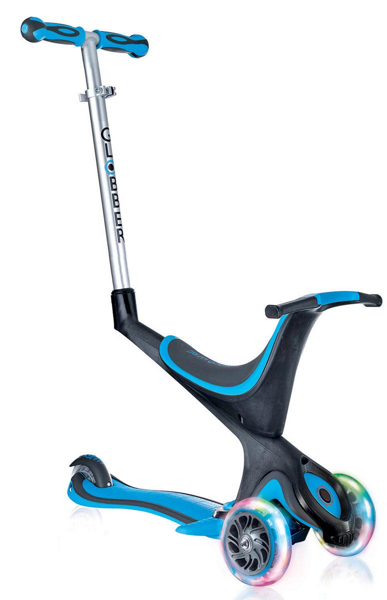 Самокат Globber Evo 5 In 1 Lights, со светящимися передними колесами, цвет: голубой