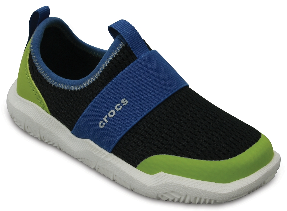 Кроссовки для мальчика Crocs Swiftwater Easy On Shoe K, цвет: черный. 204022-07U. Размер J2 (33/34)204022-07U