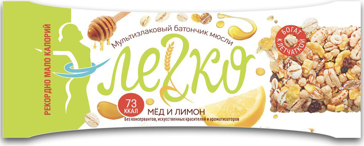 Легко батончик мюсли мед с лимоном, 27 г