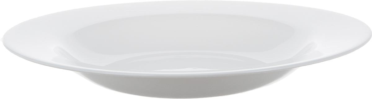 Тарелка предназначена для подачи супов и других первых блюд: горячих и холодных. Всегда актуальный дизайн подойдет для любого случая: и для уютного семейного обеда, и для посиделок с друзьями. Изготовлена из ударопрочного, закаленного стекло, способного выдерживать значительные перепады температуры. Пригодна для использования в посудомоечной машине и СВЧ.