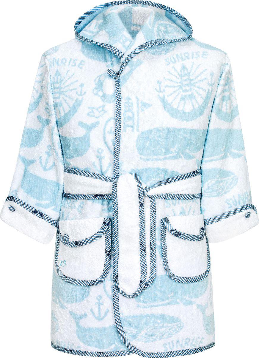 Халат для мальчика Togas Морские приключения, цвет: белый. 10.00.02.04. Размер 10410.00.02.04_Морские приключенияМахровый халат от Togas выполнен из натурального хлопка. Модель с длинными рукавами и капюшоном на талии дополнена текстильным поясом, по бокам имеются накладные карманы.