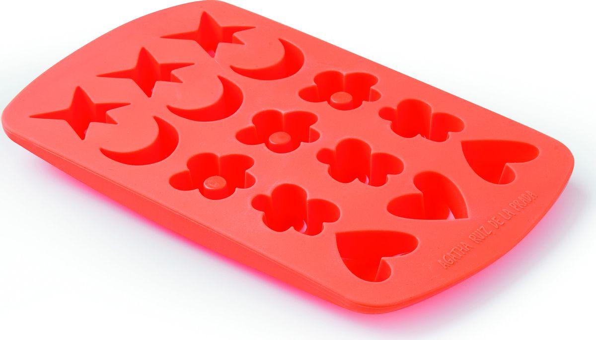 Форма для конфет Lekue Agatha4604515N07M019Форма и цвет - это основа коллекций, созданных Agatha Ruiz de la Prada for Lekue. В этой коллекции объединились опыт в производстве высоко-качественный посуды от Lekue и уникальный штрих от модного дизайнера.Формы для изготовления конфет фирмы Lekue эластичны и просты в использовании. Делайте дома превосходные конфеты профессионального качества с помощью формы для конфет от Lekue. Можно делать шоколадные или мармеладные конфеты. В форме Ассорти можно сделать конфеты сразу нескольких форм: цветок, месяц, звезда, сердечки. Получится 15 конфет.