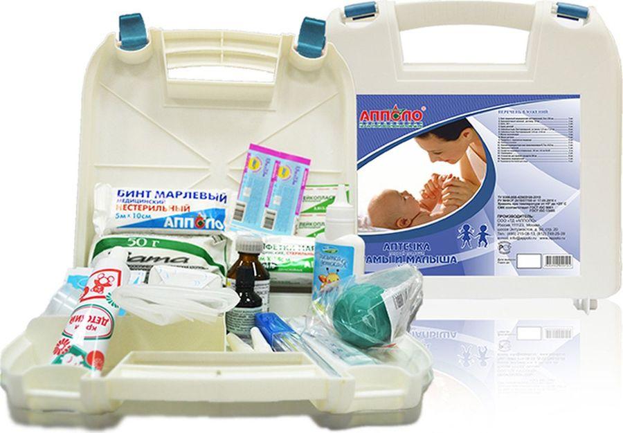 Апполо Аптечка Мамы и Малыша1263Аптечка Мамы и малыша Апполо содержит все необходимые средства для ухода за малышом в первые месяцы жизни и оказания ему первой помощи при легких травмаx и недомоганиях. Аптечка для новорожденных Мамы и малыша комплектуется в пластиковый чемоданчик белого цвета с внутренними перегородками и удобными замками. Данную аптечку всегда стоит иметь при себе в дороге. Состав аптечки Мамы и малыша позволяет молодой маме не задумываться при возникновении неожиданных реакций со стороны новорожденного, все необходимое всегда под рукой, аптечка молодой мамы - лучшее подспорье для сохранения здоровья ребенка. Данная аптечка по составу является оптимальной по требованиям Министерства здравоохранения РФ. Состав: 1. Бинт марлевый медицинский нестерильный, 5 м х10 см - 1 шт. 2. Бриллиантовый зеленый, 1% спиртовой раствор - 1 флакон. 3. Вата хирургическая, нестерильная, 50 г - 1 шт. 4. Клеенка компрессная, 70 х 50 см или пленка полиэтиленовая, или клеенка подкладная резинотканевая - 1 шт. 5. Крем детский, 35 г - 1 шт. 6. Лейкопластырь бактерицидный, не менее 1,9 х7,2 см - 2 шт. 7. Лейкопластырь бактерицидный, 3,8 х 3,8 см - 1 шт. 8. Масло вазелиновое, не менее 25 мл - 1 флакон. 9. Мыло детское - 1 шт. 10. Пипетка глазная травмобезопасная 2 - шт. 11. Присыпка детская, не менее 25 г - 1 шт. 12. Салфетки марлевые медицинские стерильные, 16 х14 см, №10 (двухслойные) - 1 шт. 13. Салфетка с перекисью водорода, 13 х 18 см или перекись водорода 3% раствор 40 мл, 5шт/1 шт фл. 14. Спринцовка с мягким наконечником - 1 шт. 15. Стаканчик медицинский для приема лекарств, 30 мл - 2 шт. 16. Термометр бытовой для воды - 1 шт. 17. Термометр медицинский - 1 шт.