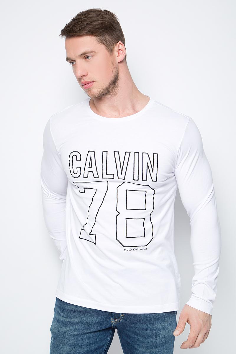Футболка с длинным рукавом мужская Calvin Klein Jeans, цвет: белый. J30J306872_1120. Размер XL (50/52) футболка с длинным рукавом мужская
