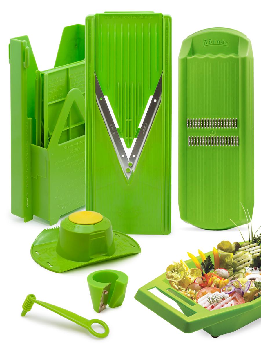 Овощерезка Borner комплект Классика Экстра, цвет: салатовый, 10 предметов1704659Borner Классика Экстра из 10-ти предметов – это набор самых востребованных тёрок для работы на кухне каждый день. Комплект собран с максимальной эффективностью, в него входят самые популярные в мире модели тёрок: овощерезка Классика (основной нож-рама, 3 вставки и плододержатель) + мультибокс для хранения острой овощерезки и её вставок + овощерезка Роко-Тренд для нарезки типа корейская морковь + судок, который создаёт особое удобство при нарезании и чистоту во время нарезки, а так же два декоратора для создания украшений: точилка для моркови и нож-декоратор. С этим набором вы сможете сделать как минимум 18 видов различной нарезки: от стандартных и нужных каждый день во время готовки ломтиков, кубиков и брусочков разного размера, до стружки, спирали и тонкой соломки из овощей и фруктов. Точилка для моркови и нож-декоратор позволят мгновенно и очень оригинально украсить любые блюда. Все подробности и рецепты есть в приложенных инструкциях.Легендарная немецкая Тёрка Бёрнера представлена в России с 1991 года и известна во всём мире своими великолепными острыми ножами с микросеррейторной заточкой. Заводская гарантия на заточку ножей - это безупречная переработка 3-х тонн овощей. Вся продукция завода BORNER GmbH - это эталон настоящего немецкого качества, безупречной надёжности и высоких мировых технологий: идеальный выбор для современной кухни.