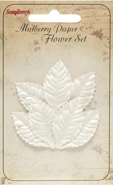 цена на Набор декоративных листочков ScrapBerry's Мелкие листья розы, цвет: белый, 7 шт