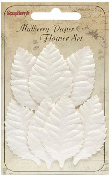 Набор декоративных листочков ScrapBerry's Роза, цвет: белый, 7 шт фантазер josephine набор плетение из фольги серебрянная роза