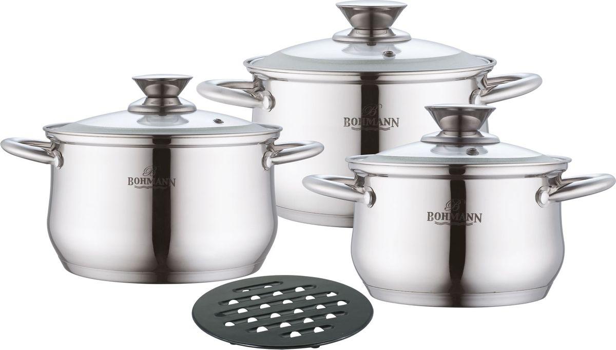 Набор кухонной посуды изготовлен из высококачественной нержавеющей стали с капсульным дном. Изделия снабжены крышками из термостойкого стекла с паровыпуском, а также удобными стальными ручками. Подходит для всех видов плит(включая индукционную). Еще одно преимущество набора — бакелитовая подставка. Благодаря этому дополнению вы сможете ставить горячую кастрюлю на любой стол, не опасаясь того, что его поверхность может испортиться.