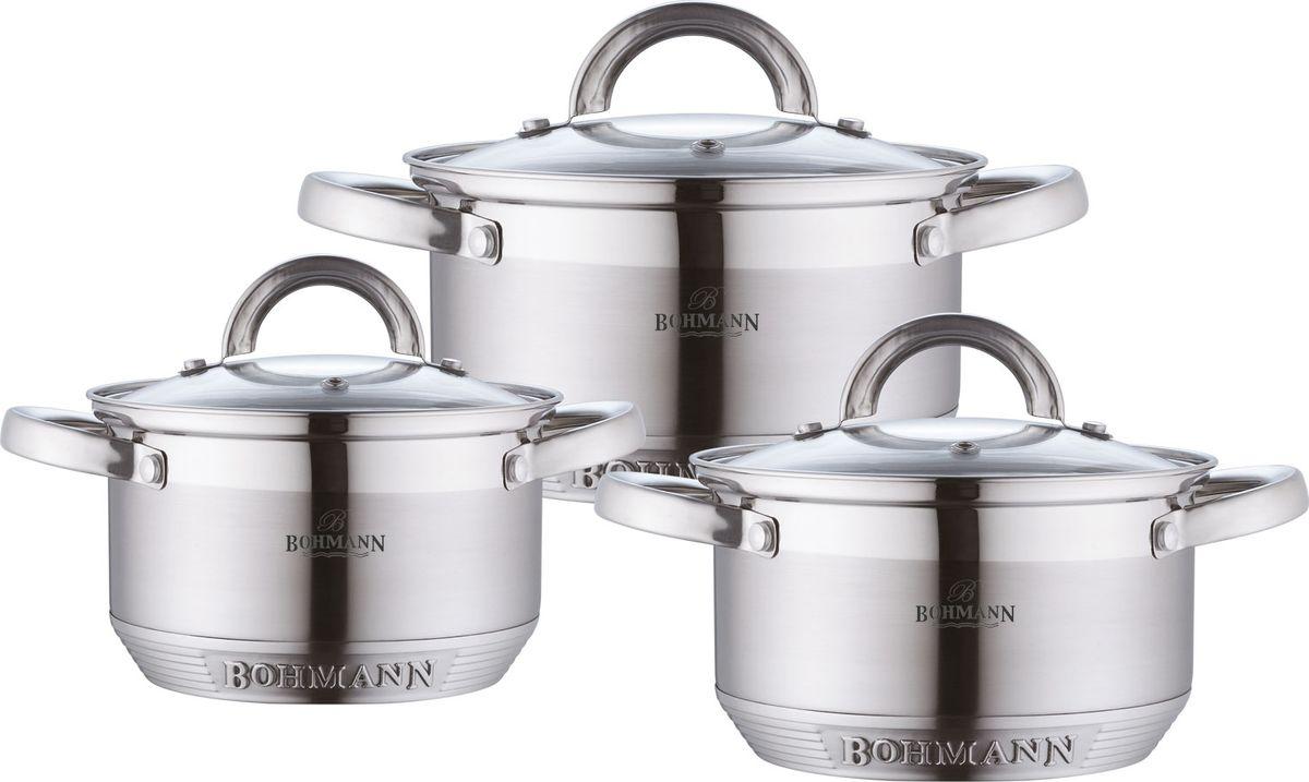 Набор посуды Rainstahl, 6 предметов. 0715BH0715BHНабор кухонной посуды изготовлен из высококачественной нержавеющей стали с 7-ми шаговым капсульным дном. Изделия снабжены крышками из термостойкого стекла с паровыпуском, а также удобными стальными ручками. Подходит для всех видов плит(включая индукционную) и для духового шкафа.Мерная шкала, которая быстро помогает хозяйке определить литраж содержимого кастрюли.