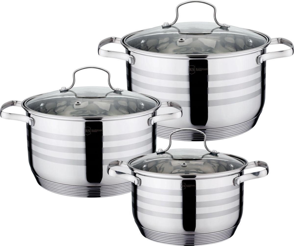 Набор кухонной посуды изготовлен из высококачественной нержавеющей стали . 7-шаговое термоаккумулирующее капсульное дно. Стеклянные крышки из термостойкого стекла.