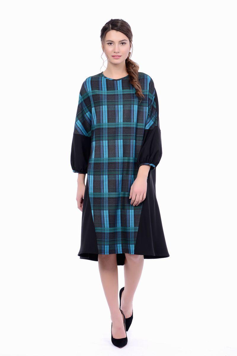 Купить Платье женское Lautus, цвет: черный, голубой. 1161. Размер 44