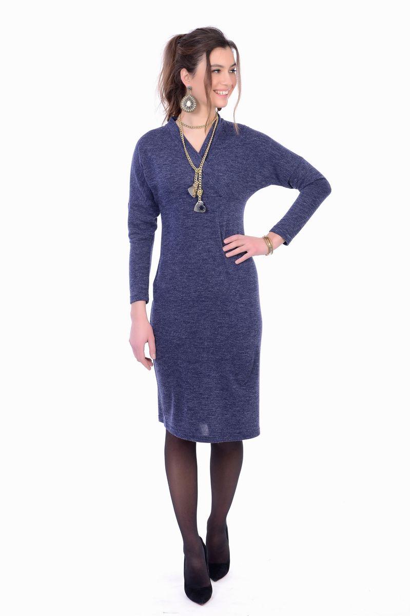Платье женское Lautus, цвет: синий. 1155. Размер 481155Стильное платье от Lautus выполнено из трикотажного материала. Модель облегающего кроя, с длинными рукавами и V-образным вырезом горловины с эффектом запаха на груди. Платье подчеркнет все достоинства вашей фигуры.