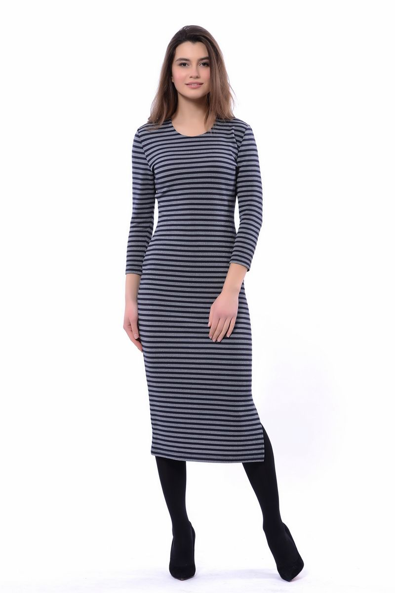 Платье женское Lautus, цвет: синий. 1147. Размер 521147Стильное платье от Lautus выполнено из трикотажного материала. Модель облегающего кроя с круглым вырезом горловины и длинными рукавами оформлено полосатым принтом. Комфортное платье - прекрасный выбор на каждый день.