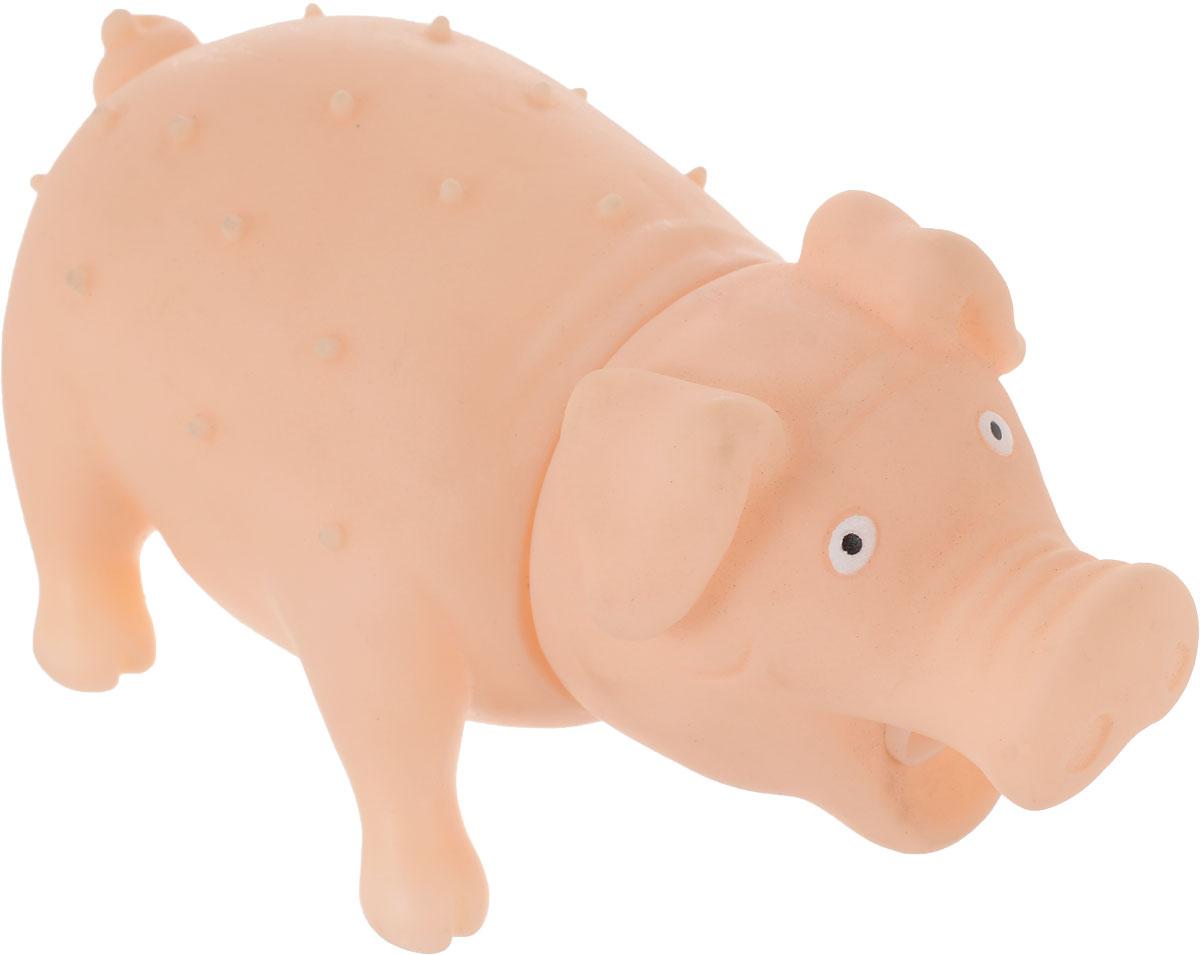 Игрушка для собак Уют Свинья, цвет: телесный, 16 x 7 см уют
