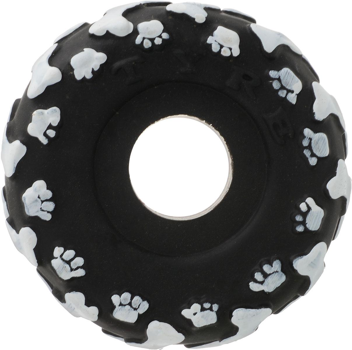 Игрушка для собак Уют Шина, цвет: черный, белый, 10 см товары для дома