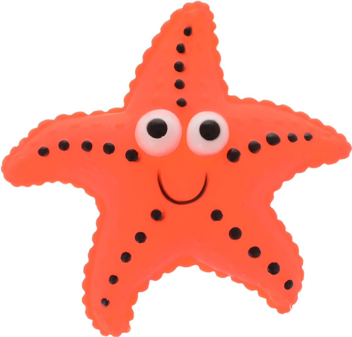 Игрушка для собак Уют Морская звезда, цвет: оранжевый, 13 см