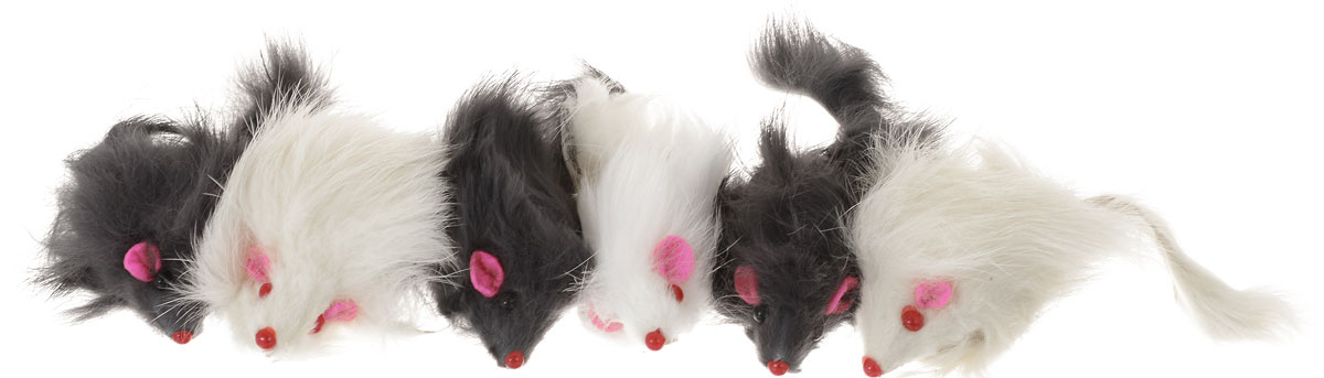 Игрушка для кошек Уют Мышь, цвет: белый, черный, 6 шт уют