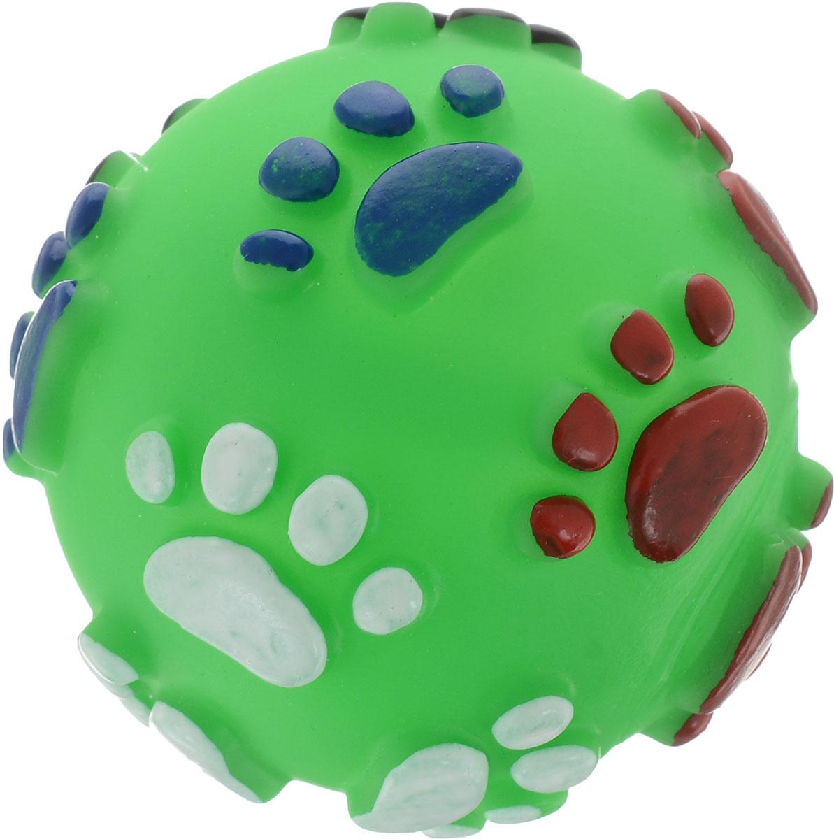 Игрушка для собак Уют Мяч лапки, цвет: зеленый, 6,5 см игрушка для животных каскад мячик пробковый цвет зеленый 3 5 см