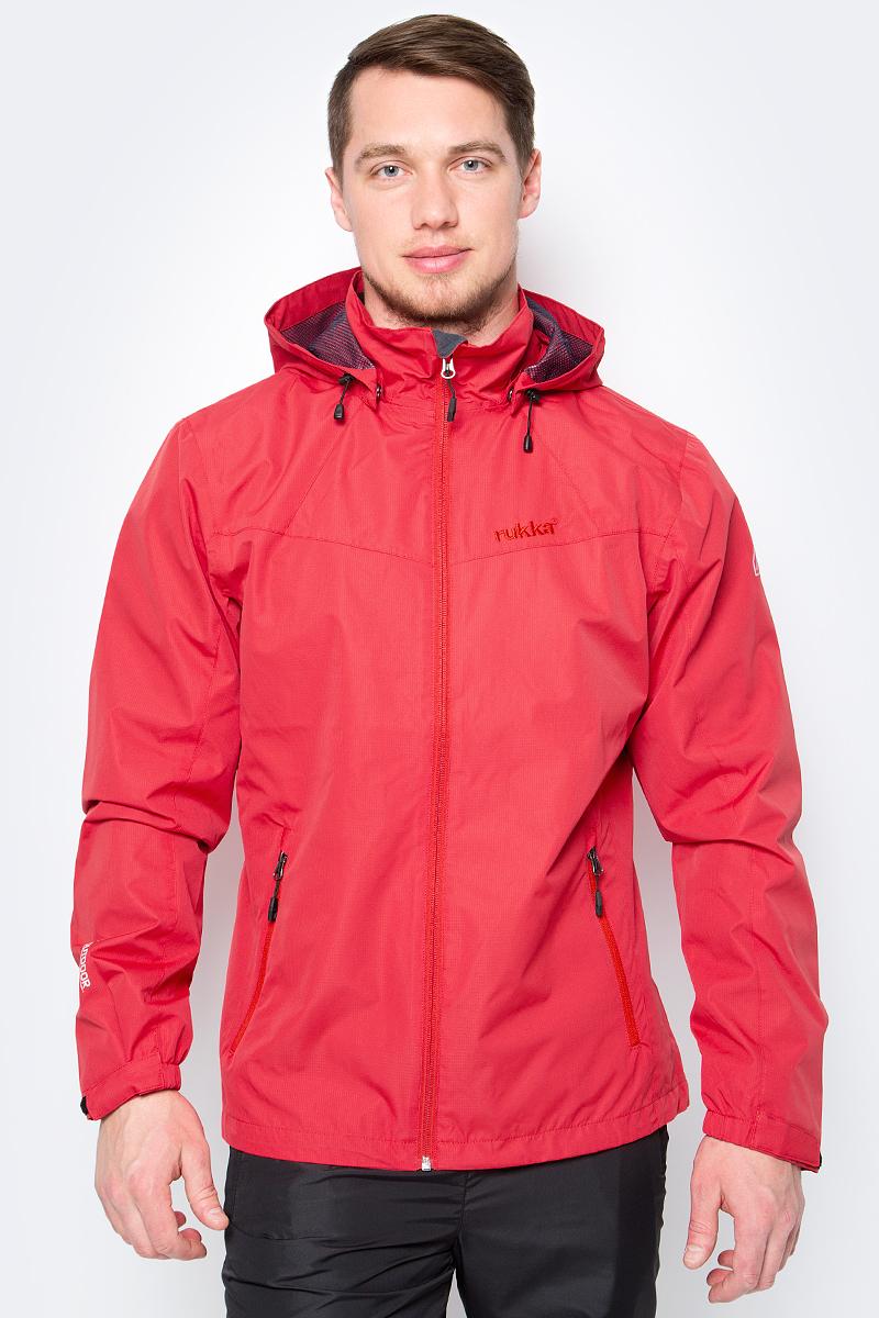 Куртка мужская Rukka, цвет: красный. 979306291RV_652. Размер XXL (56)979306291RV_652Куртка от Rukka выполнена из плотного материала. Модель с длинными рукавами, воротником-стойкой и съемным капюшоном застегивается на молнию, по бокам имеются карманы на молниях. Рукава по низу дополнены хлястиками на липучках.