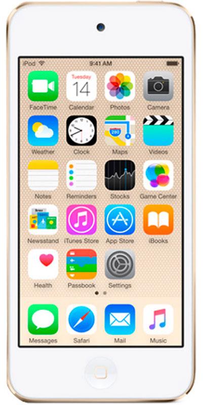Apple iPod Touch 128GB, Gold mp3-плеерMKWM2RU/AApple iPod Touch - это отличный способ уместить всю медиатеку в кармане. iTunes Store, самый большой в мире каталог музыки, наполнит ваш iPod touch любимыми песнями. iCloud обеспечит автоматический доступ ко всем вашим покупкам со всех ваших Apple-устройств - совершенно бесплатно. А сервис Apple Music, доступный прямо в приложении Музыка, произведет сильное впечатление. В Apple iPod Touch встроен 64-битный процессор A8 уровня настольных компьютеров, разработанный Apple. Благодаря ему производительность увеличилась до шести раз по сравнению с моделью предыдущего поколения, а скорость графики выросла до 10 раз - теперь ваши любимые игры работают быстрее и выглядят ещё реалистичнее, чем прежде. Время работы от аккумулятора не изменилось - до 40 часов воспроизведения музыки и до 8 часов воспроизведения видео.Сопроцессор движения M8 постоянно измеряет данные ваших движений, используя передовые датчики, в том числе гироскоп и акселерометр. Выполняя эти задачи, M8 разгружает процессор и повышает эффективность работы устройства. Кроме того, он предоставляет точные фитнес-данные, например количество шагов или дистанцию, для приложения Здоровье. Metal - новая технология, позволяющая разработчикам создавать игры консольного уровня с высокой степенью погружения - была создана для достижения оптимальной графической производительности процессора A8 и системы iOS 8. Metal оптимизирует работу графического и центрального процессоров и позволяет добиться детальной графики и сложных визуальных эффектов. Любой игровой мир будет выглядеть как настоящий. Apple iPod Touch оснащен 4-дюймовым дисплеем Retina с разрешением 1136 х 640 точек, так что все ваши развлечения будут смотреться неотразимо. Резкие повороты в гоночных симуляторах, плейлист для вечеринки, фотографии друзей - все выглядит четко, ярко и реалистично. А еще этот дисплей идеально подходит для широкоэкранных HD - фильмов и телепередач.Теперь ваши фотографии и видео будут просто н