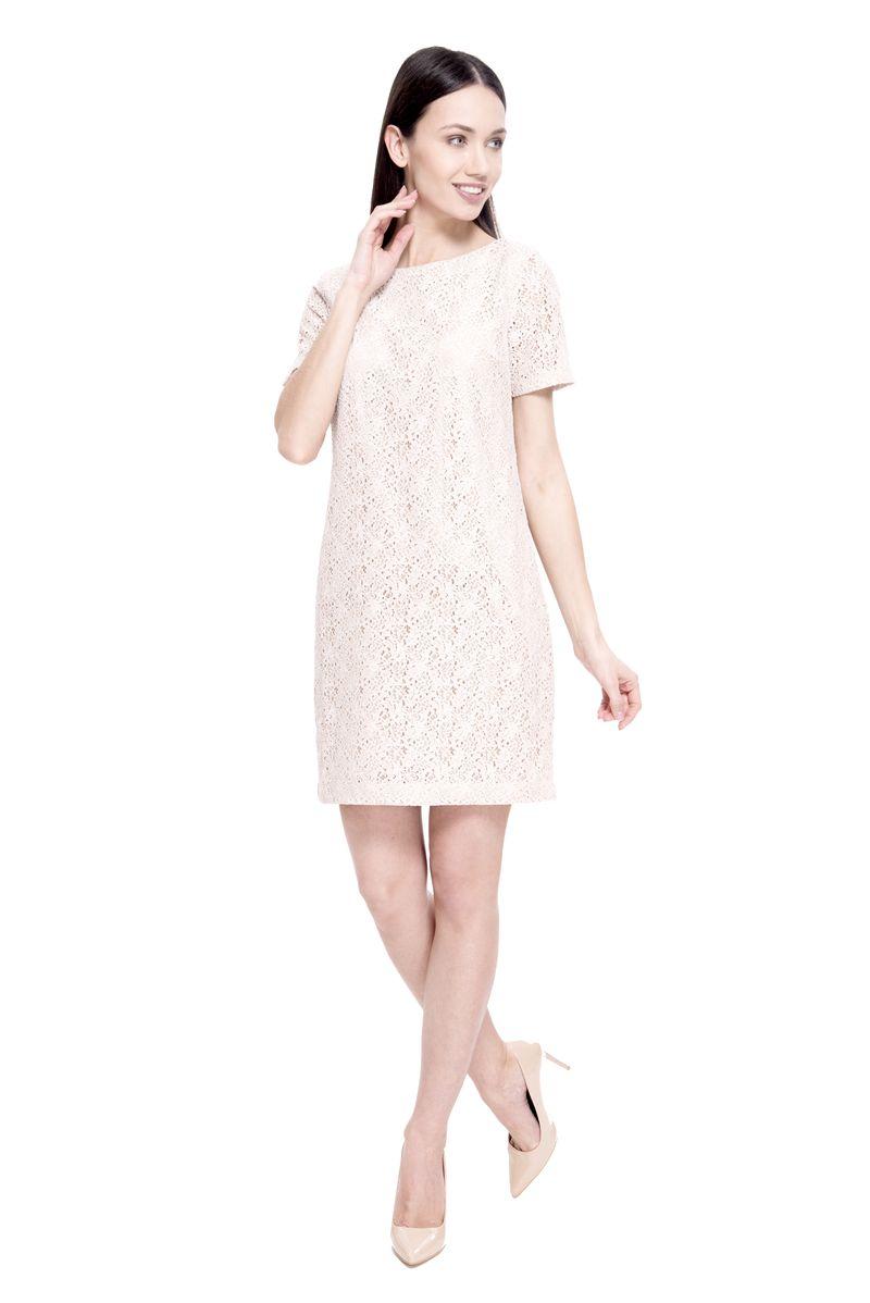 Платье Lusio, цвет: бежевый. SS18-020156. Размер S (42/44)SS18-020156Элегантное платье от Lusio выполнено из ажурного материала. Модель прямого кроя с короткими рукавами и круглым вырезом горловины на спинке застегивается на металлическую молнию.