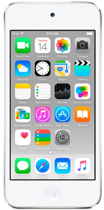 Apple iPod Touch 128GB, White Silver mp3-плеерMKWR2RU/AApple iPod Touch - это отличный способ уместить всю медиатеку в кармане. iTunes Store, самый большой в мире каталог музыки, наполнит ваш iPod touch любимыми песнями. iCloud обеспечит автоматический доступ ко всем вашим покупкам со всех ваших Apple-устройств - совершенно бесплатно. А сервис Apple Music, доступный прямо в приложении Музыка, произведет сильное впечатление. В Apple iPod Touch встроен 64-битный процессор A8 уровня настольных компьютеров, разработанный Apple. Благодаря ему производительность увеличилась до шести раз по сравнению с моделью предыдущего поколения, а скорость графики выросла до 10 раз - теперь ваши любимые игры работают быстрее и выглядят ещё реалистичнее, чем прежде. Время работы от аккумулятора не изменилось - до 40 часов воспроизведения музыки и до 8 часов воспроизведения видео.Сопроцессор движения M8 постоянно измеряет данные ваших движений, используя передовые датчики, в том числе гироскоп и акселерометр. Выполняя эти задачи, M8 разгружает процессор и повышает эффективность работы устройства. Кроме того, он предоставляет точные фитнес-данные, например количество шагов или дистанцию, для приложения Здоровье. Metal - новая технология, позволяющая разработчикам создавать игры консольного уровня с высокой степенью погружения - была создана для достижения оптимальной графической производительности процессора A8 и системы iOS 8. Metal оптимизирует работу графического и центрального процессоров и позволяет добиться детальной графики и сложных визуальных эффектов. Любой игровой мир будет выглядеть как настоящий. Apple iPod Touch оснащен 4-дюймовым дисплеем Retina с разрешением 1136 х 640 точек, так что все ваши развлечения будут смотреться неотразимо. Резкие повороты в гоночных симуляторах, плейлист для вечеринки, фотографии друзей - все выглядит четко, ярко и реалистично. А еще этот дисплей идеально подходит для широкоэкранных HD - фильмов и телепередач.Теперь ваши фотографии и видео будут 